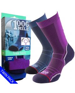 1000 Mile Trek Socks | Twin Pack | - Womens