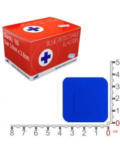 Blue Lion Blue Detectable Plasters   Square 3.8.cm   100 Pack