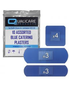 Qualicare - Blue Catering Plasters - Assorted 10 Pack