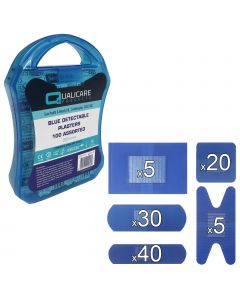 Qualicare - Blue Catering Plasters - Assorted 100 Pack + Carry Case