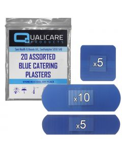 Qualicare - Blue Catering Plasters - Assorted 20 Pack