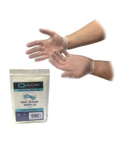 Qualicare - White Vinyl Gloves - Individually Packed