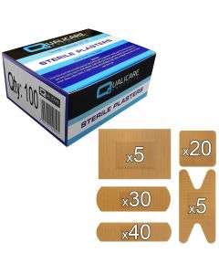 Qualicare Plasters - Fabric - 100 Pack Assorted