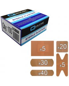 Qualicare Plasters - Washproof - 100 Pack Assorted
