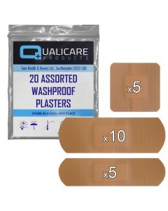 Qualicare Plasters - Washproof - 20 Pack Assorted