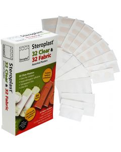 Steroplast Clear/Fabric Assortment Box | 64 Plaster Pack