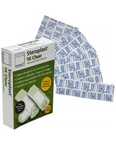 Steroplast Clear Assortment Box | 16 Plaster Pack