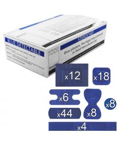 Sterochef Blue Catering Plasters | 100 Pack Assorted + Divided Case